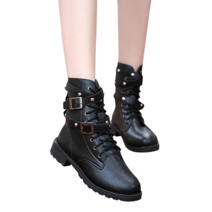 Napoulen®Mode Soft Flat cheville Martin bottes en daim cuir dentelle-up bottes populaire Noir-LMH70922554BK