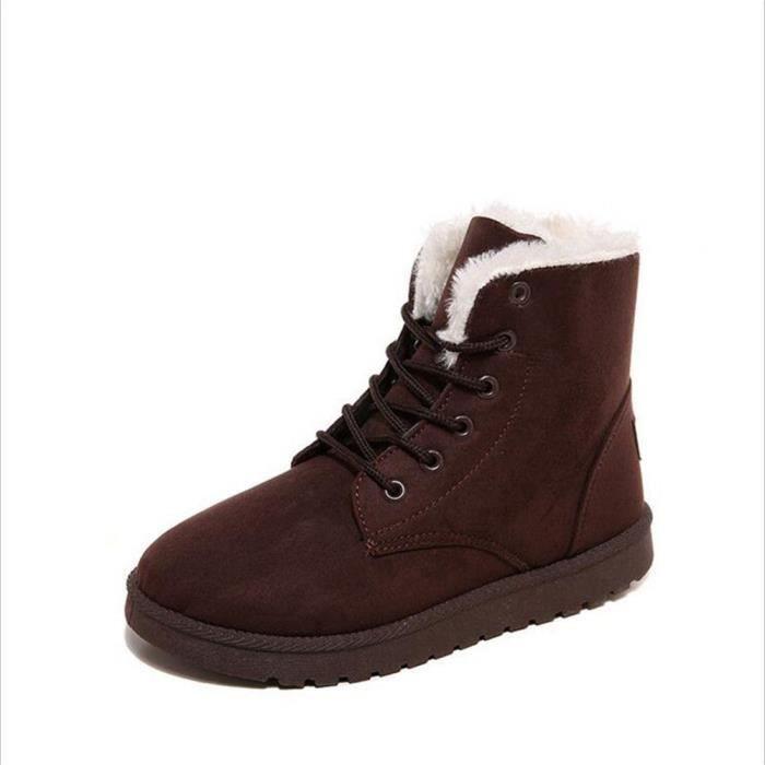 Bottine Femme hiver chaud hiver Coton peluche boots BXX-XZ002Marron-35 0T7GUFNkVW