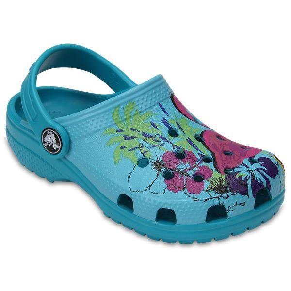 Crocs Classic Graphic Enfant Clogs Chaussures Sandales en Turquoise 204118 440 [Child 4]