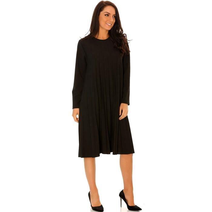 Miss Wear Line - Robe tunique trapèze noir avec magnifique plissé