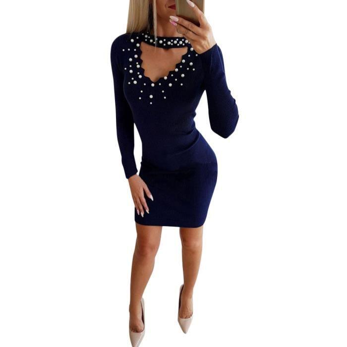 Minetom Longues Chemise Bodycon Pull Femme Printemps Pullover Col V Sexy  Femmes Mini Dress Manches Blouse ... f6cad1283e5e