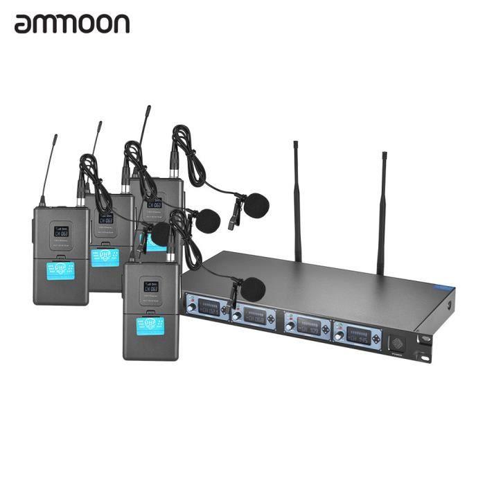 Ammoon 4s Microphone Uhf Sans Fil 4 Canaux Lapal Lavalier Mics 1 Récepteur Câble Audio 6.35mm Ecran Lcd Fête De