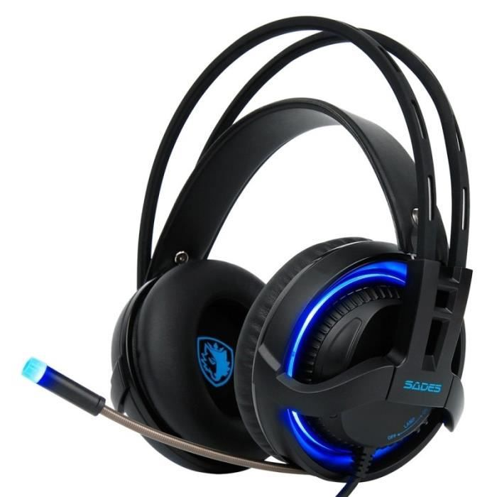 Casque Pc Usb Gaming Headset 7.1 Canaux Filaire Avec Contrôle Fil Micro Breathing Light Ordinateur Portable Noir N°1