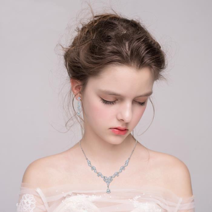 EVER FAITH® Femme Mariage Parure Cubic Zircon Marquise Pierre Feuille Papillon Y-Collier Pendante Boucles doreille Série