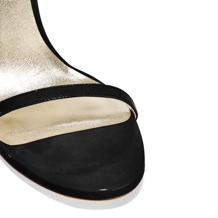 Chaussures femmes cuir, sandales noires à talons aiguilles avec bride de cheville Nancy Jayjii.