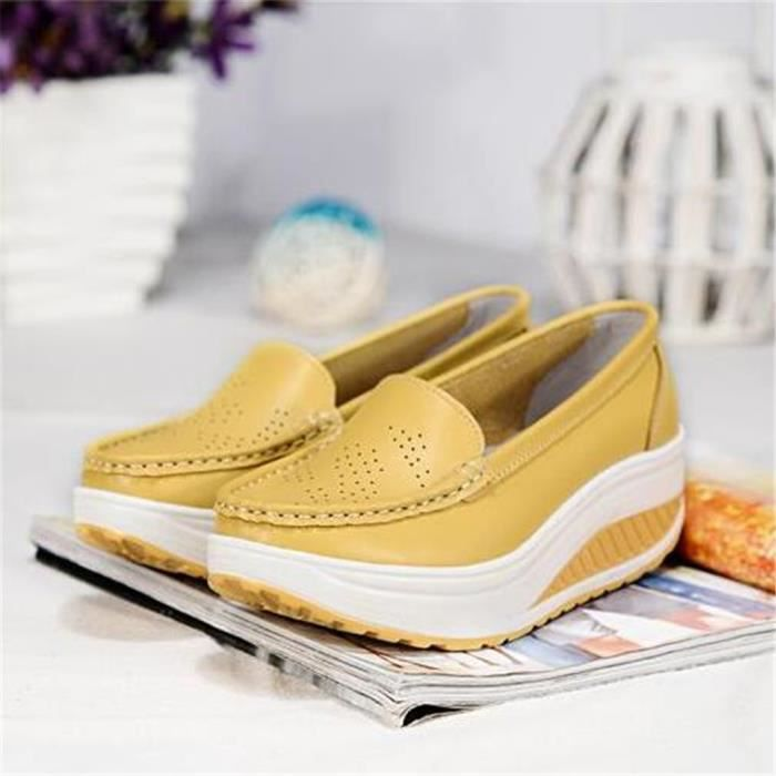 Chaussures Femmes Printemps ete Plate-Forme Chaussures CHT-XZ058Jaune35 UphiYo
