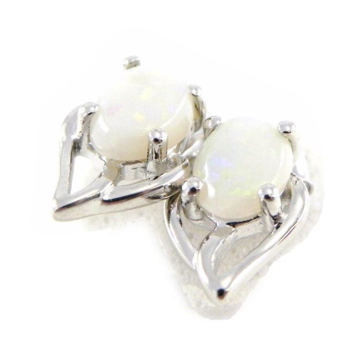 Boucles Argent Déesse Opale Blanc