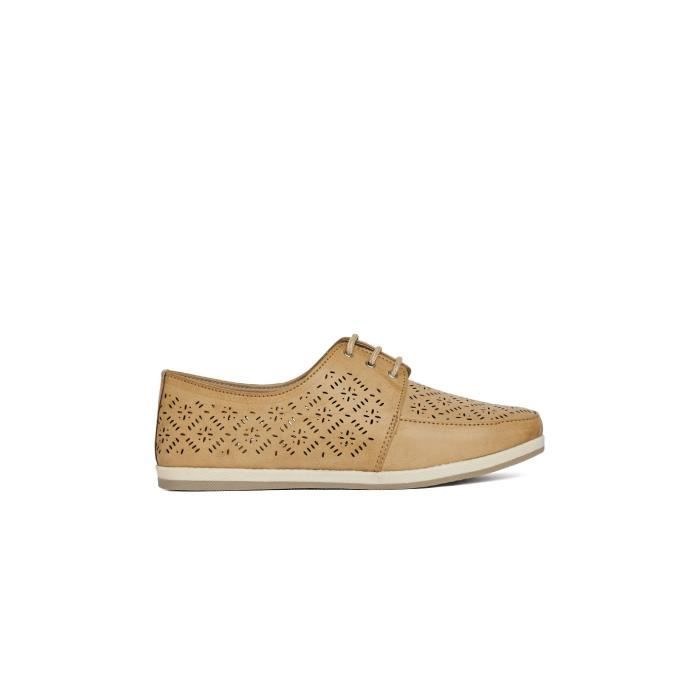 femmes beige laser coupe solide bout rond à lacets up derby chaussures casual NB2HP Taille-36