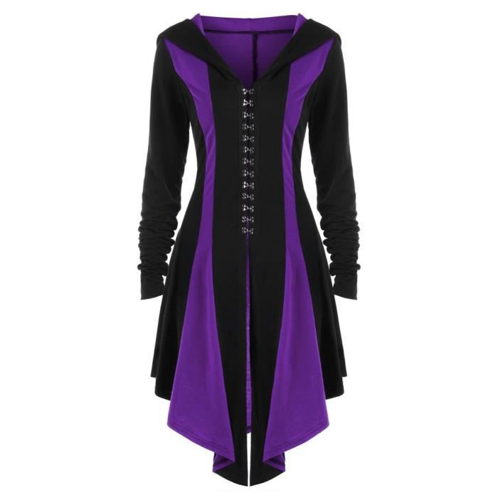 Manteau À Veste Parka Bandage Sweats Femmes Retour Outwear Violet Capuche Pardessus Irrégulière zCqx1aw5Y