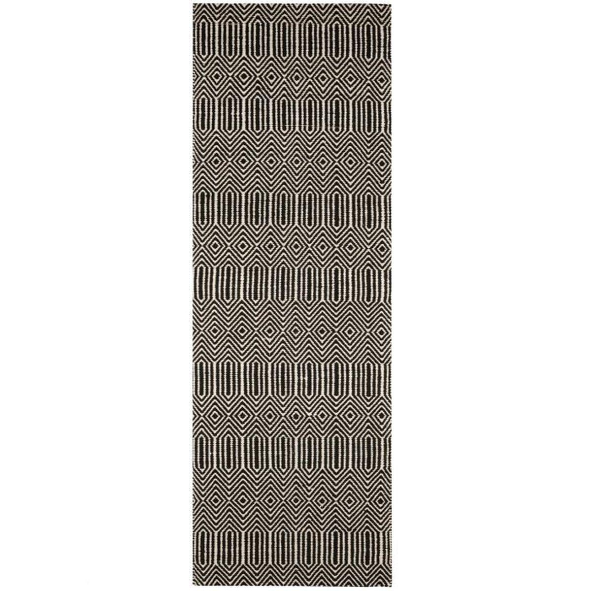 Tapis Poil Ras De Couloir Sloan Noir Blanc 66x200 Cm Tapis Poil