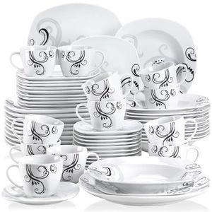 21561460a6453f SERVICE COMPLET Veweet ZOEY 60pcs Service de Table Porcelaine 12pc