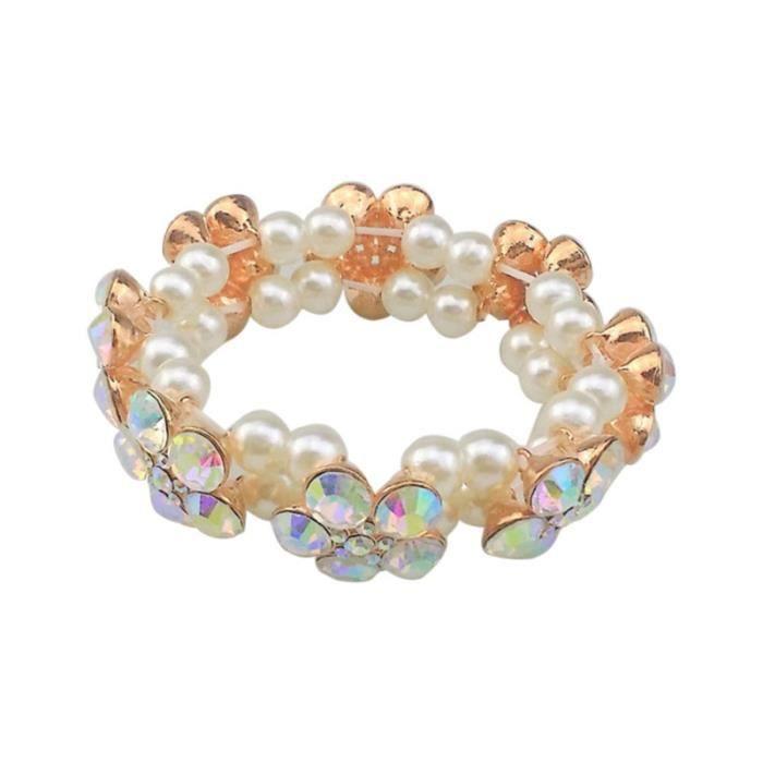 acheter bien qualité et quantité assurées livraison gratuite Élasticité strass perle Bracelet de fleur de prunier Bracelet Vintage (or  rose AB strass)