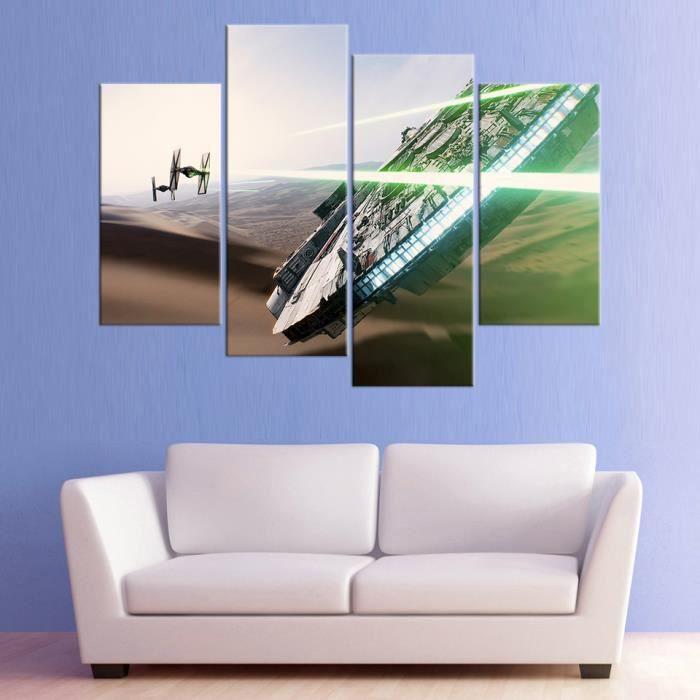 Non Encadres Pas De Cadre Tableau Decoration Salon 4 Panneaux Star Wars Imprimees Pictures Affiche Photo
