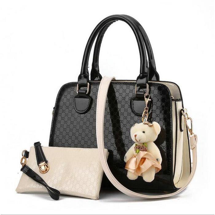 sac à main Femmes Sac mode Cher Sac composite pour Femme PU en cuir imprimé géométrique-261
