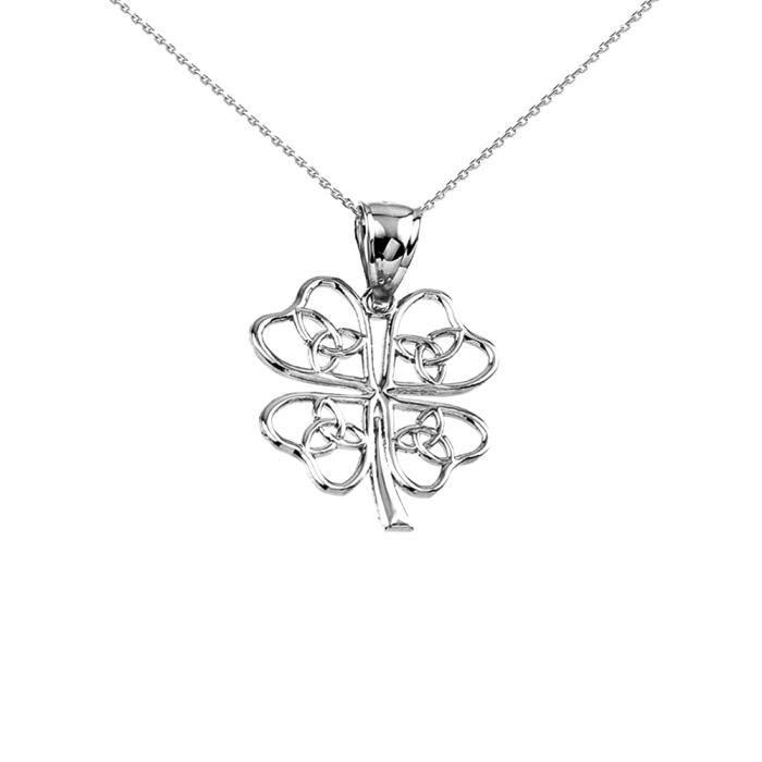Collier Femme Pendentif 925 Argent Fin Celtique Trinité Nœud Trèfle (Livré avec une 45cm Chaîne)