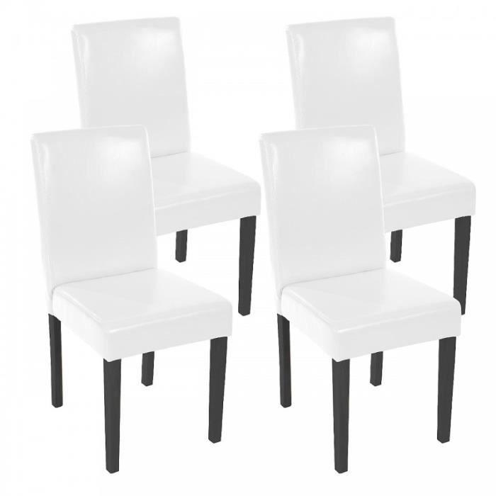 manger simili blanc 4 à cuir Lot de de chaises salle pieds yvn0Nm8wO
