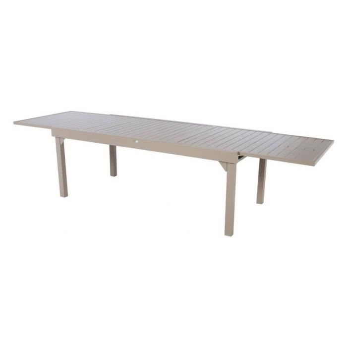 TABLE PIAZZA ALU HESPERIDE EXTENSIBLE 12 P. TAUPE - Achat / Vente ...