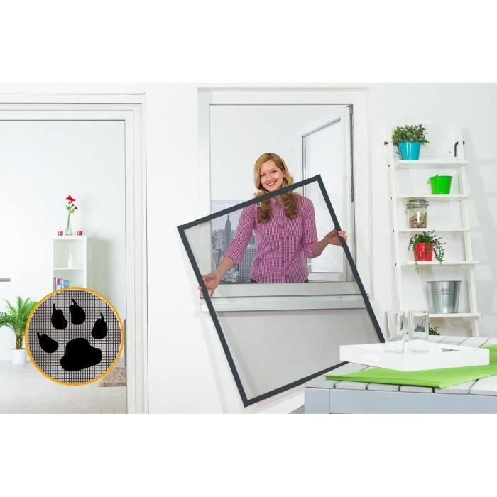Moustiquaire Cadre fixe Amovible Fenêtre SMART ANTI-GRIFFE Alu Gris L130xH150 cm