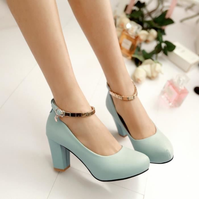 talons hauts-Pure Color Heel Thick Women Ankle ... 6Ar0b
