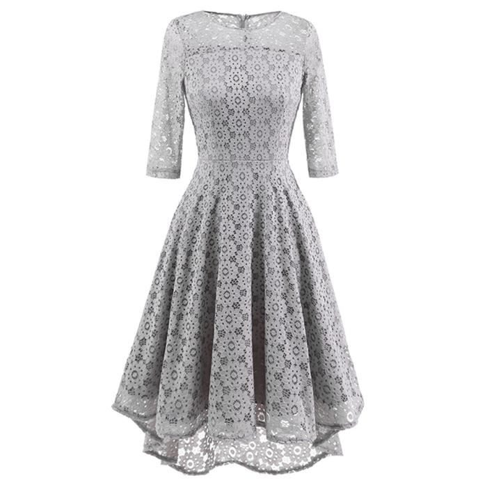 Womens dentelle Vintage O cou robe de soirée irrégulière Cocktail Party@Gris
