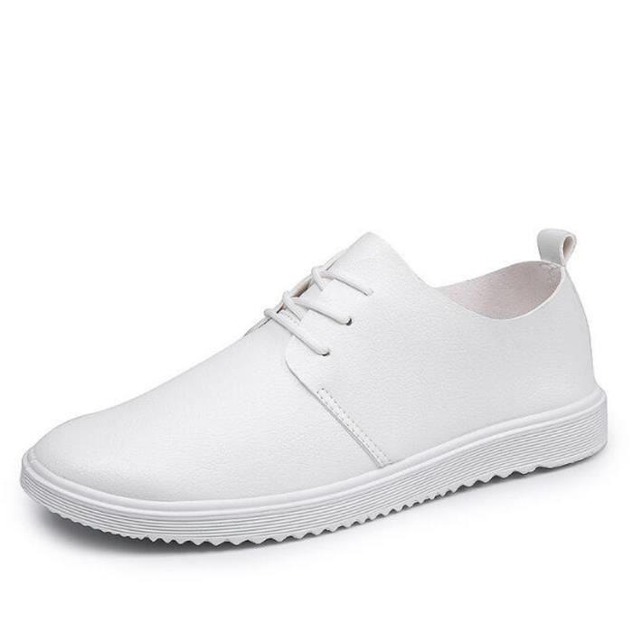 Chaussures Hommes Cuir Printemps Ete Haute Qualité Plat Chaussures BBZH-XZ080Blanc39
