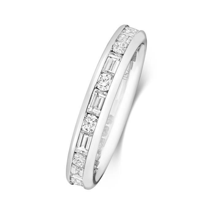 Bague de Mariage-Alliance Femme Eternité 3,4mm Or Blanc 750-1000 et Diamant Baguette 1.19 Carat G - VS 31170