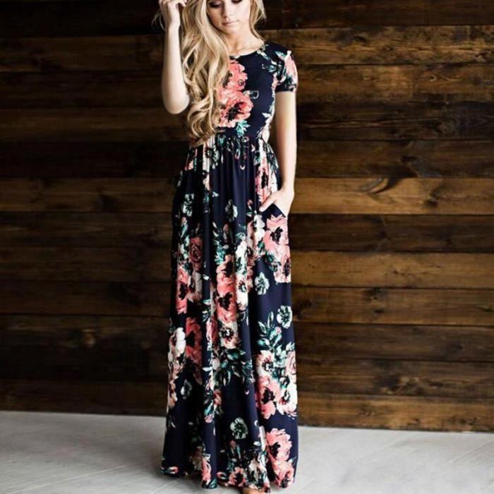 Robe Femme Longue Impression Manches Courte Robe Femme Été