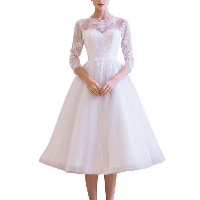 Robe De Mariee Simple Princesse Avec Longueur Aux Jambes Col Rond Dos Couvert De Tissus Transparents Manches Longues 32 50 Blanc