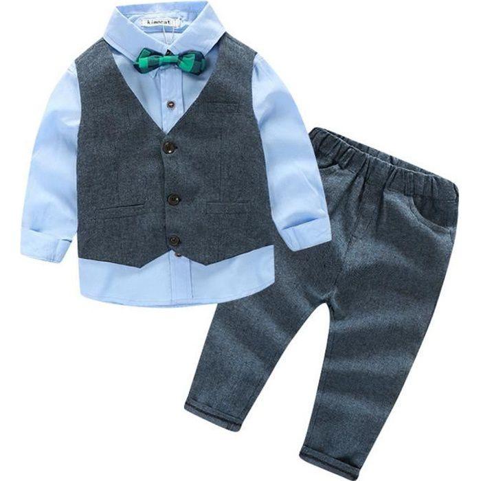 Ensemble de Vêtement Costume Enfant Bébé Garçon 3pcs Chemise + Gilet +  Pantalon pour Mariage Fête Cérémonie 7ebe9af4127