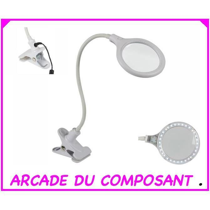 30 Dioptres W Lampe 6 5 Avec Blanc Pince Led Loupe Leds 80wnNmv