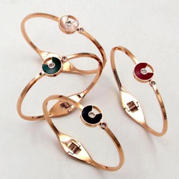 Bracelet femme Plaqué 18k or rose Lacier au titane ne se fane pas bijoux féminins(Rose dor + noir)