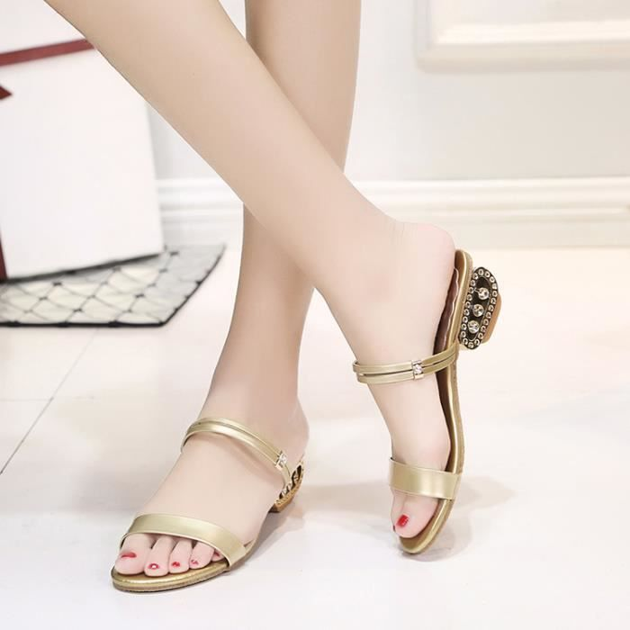 2017 Femmes été mi talon sandales Peep Toe Rhinestone chaussure Sandales Casual Chunky chaussures or couleur taille 41 3gDSEZCRy