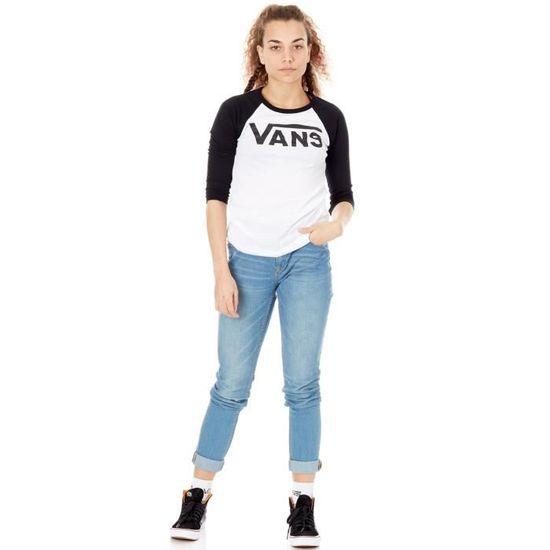 T-shirt femme bicolore à manches longues Vans Flying V Blanc-Noir Blanc  Blanc - Achat   Vente t-shirt - Soldes  dès le 9 janvier ! Cdiscount 378aa46d23d6