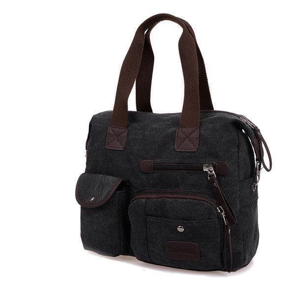 SBBKO1203Ekphero hommes femmes toile sac vintage épaule Sac Messenger Noir