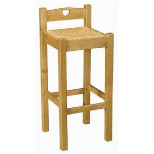 chaise de bar en pin avec coeur assise paille achat. Black Bedroom Furniture Sets. Home Design Ideas
