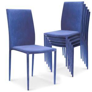 CHAISE Lot De 6 Chaises Empilables Modan Velours Bleu
