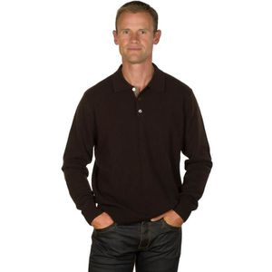 PULL UGHOLIN Pull Homme 100% Cachemire Col Polo Marron