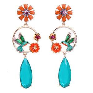 Boucle d'oreille Bleu Orange Boucles d'oreilles creuses oiseaux mig