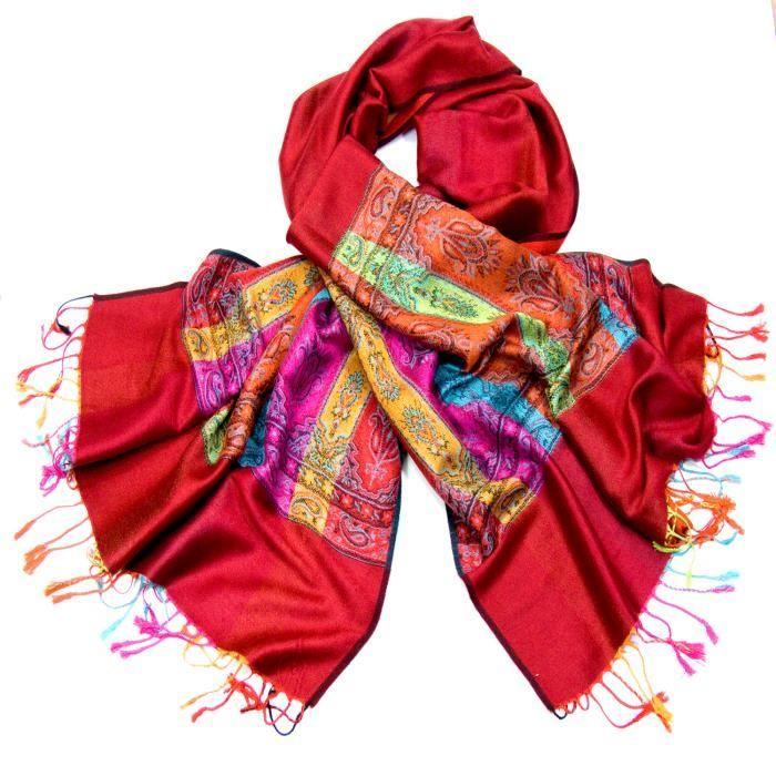 1d47c91614c4 Etole pashmina rouge tissée motifs multicolores - Achat   Vente ...