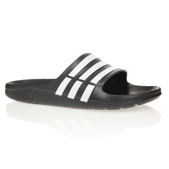 6142a722eea ADIDAS Sandales Duramo Slide - Homme - Noir Noir et blanc - Achat   Vente  sandale - nu-pieds - Cdiscount