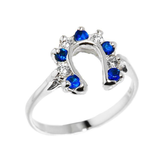 Bague Femme Argent Fin 925/1000 Blanc et Bleu Oxyde de Zirconium fer à cheval