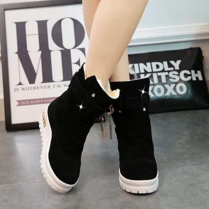 Femmes hiver épais coton plat bottes chaussures