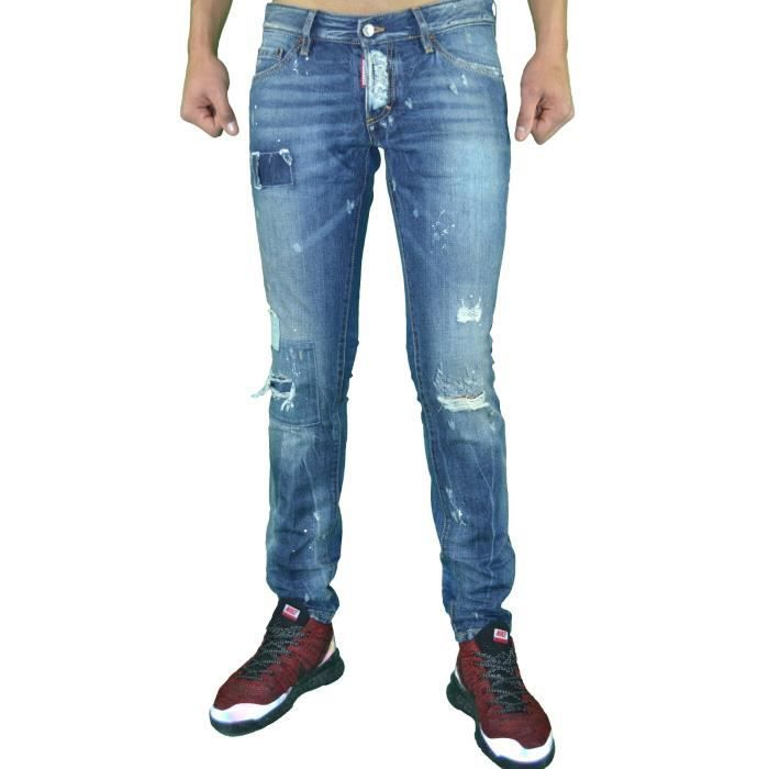 Dsquared2 - Jean - Homme - Ds 04 - Slim Fit - Bleu Stone Destroy ... 8427d477cdb0