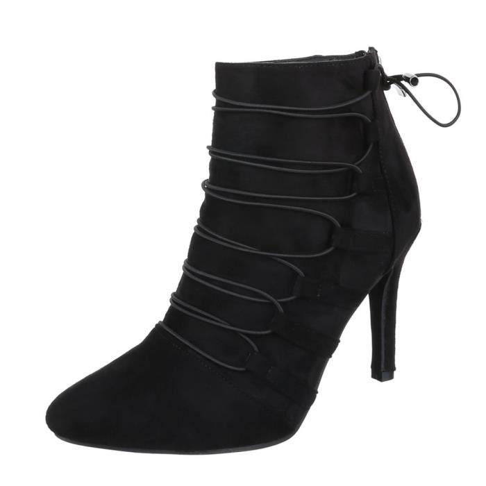 femme bottine chaussure botte avec lacer ses noir