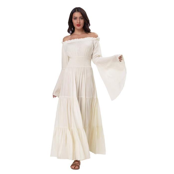Nues Manches Robe Blanche Avec Épaules ÉvaséeBohème Et Cintrée 8N0nwPZXkO