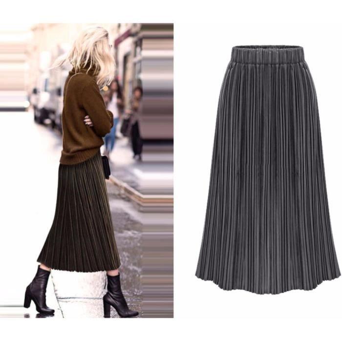 2019 Grande Taille Velours d or Jupe Femme Nouveau Mode Taille élastique  Couleur Unie Milieu Longue Jupe Plissée Gris b7db16f112d