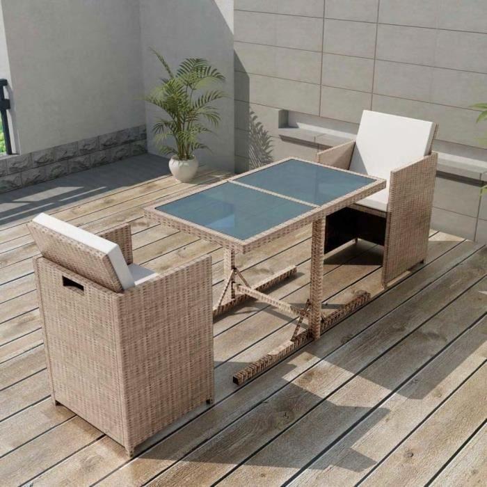 Ensemble de mobilier de jardin 7 pcs Poly Rotin Gris-Beige - Achat ...