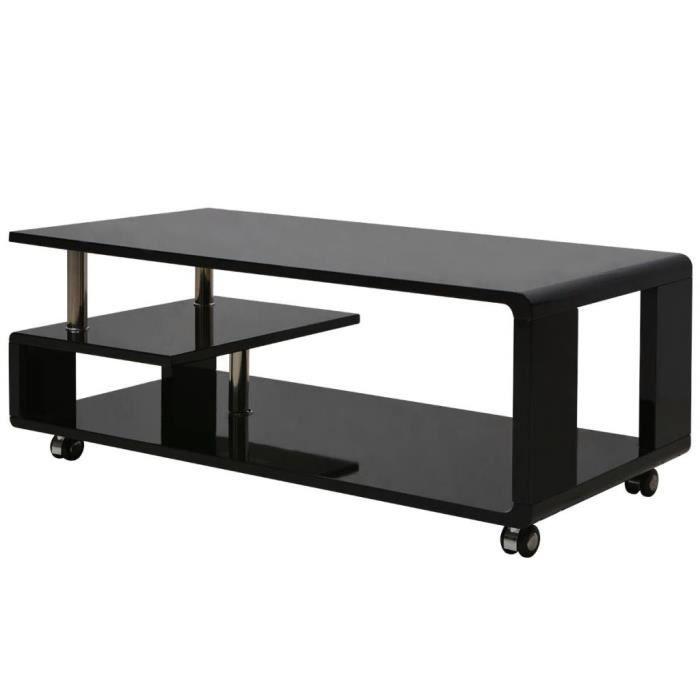 Table Basse Avec 4 Roulettes Mdf Style Contemporain Brillante Noir