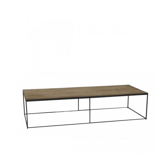 Table Basse En Metal Noir Et Plateau En Bois 140cm X 55cm X