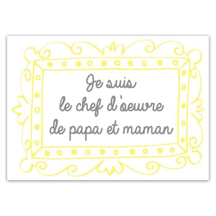 STICKERS Sticker enfant Papa et Maman - 70 x 50 cm - Blanc